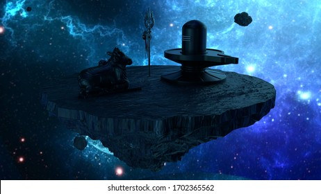 Shiva lingam and nandhi statue on asteroid. Made with 3d rendering...