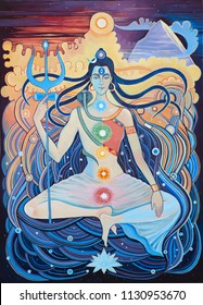 Shiva and Shaki. Man and woman love artwork.