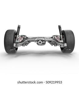 Shock Absorber and car suspension on white. 3D illustration