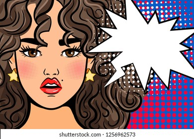 Shocked pop art girl. Surprised cartoon beautiful woman retro poster with text box, open mouth and spotted background illustration