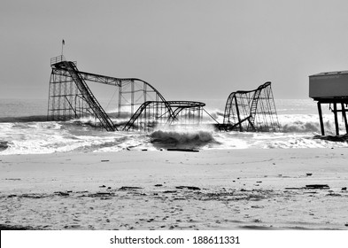 A shocking photo of the Jet Star Roller Coaster of the New Jersey Shore in Seaside Heights. Taken off the Boardwalk showing the Atlantic Ocean. Taken February 27 Th 2013.