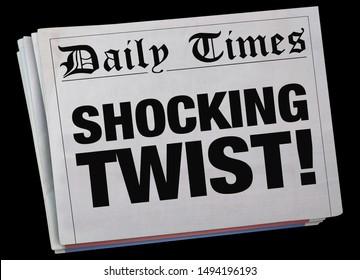 Shocking Twist Surprising Newspaper Headline Spinning 3d Illustration