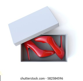 Shoe box with pair o high heels shoes 3d rendering