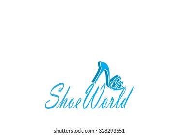 Shoe world logo template
