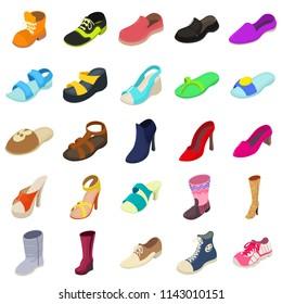 Shoes fashion types icons set. Isometric illustration of 25 shoes fashion types icons for web