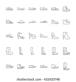 Shoes icons. Icons men's and  women's fashion shoes. Line icons on white background