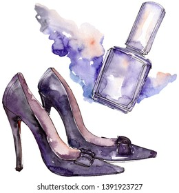 Shoes and nailpolish sketch fashion glamour illustration in a watercolor style isolated aquarelle element. Clothes accessories set trendy vogue outfit. Watercolour background illustration set.
