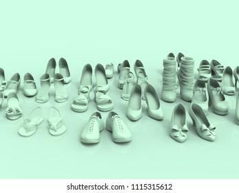 Shoes pastel 3D render