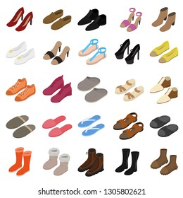 Shoes Sign 3d Icon Set Isometric View Include of Sneaker, Sandal, Slipper, Loafer, Ballet and Moccasin. illustration of Icons