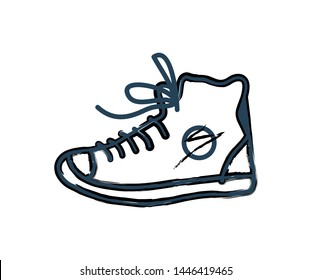 Shoes sneakers monochrome icon in line art style. Closeup of footwear for sport trainings outline sketch. Moccasins for jogging raster illustration