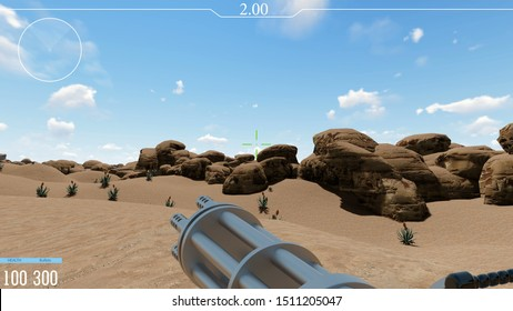 Shooter video game POV realistic 3d render. Armed futuristic combat first perspective view. Player interface with shooting target. Lonely fake sci fi soldier in desert battle field