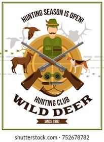 Shooting hunting poster with hunter guns binoculars horn knife dog deer and duck  illustration
