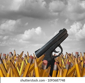 Shooting at schools concept as a group of pencils with a gun as a school hardening violence symbol and tragic and horrific gunfire icon as a 3D illustration.