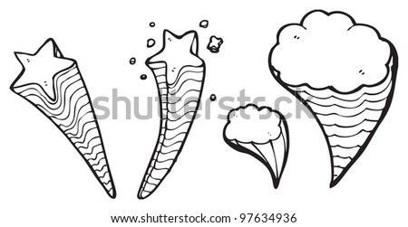 Shooting Stars Clouds Cartoon Collection Stock Illustration 97634936