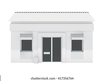 Shop building isolated on white background. 3d rendering