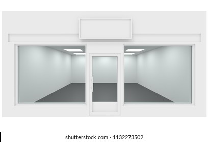 Shop design facade, empty store place 3d rendering