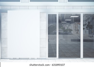 Shop exterior with blank billboard. Advertisement concept. Mock up, 3D Rendering