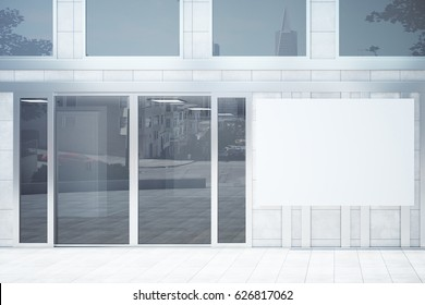 Shop exterior with blank poster. Advertisement concept. Mock up, 3D Rendering