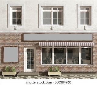 Shop front on a facade of the old building. Blank space for placement of the name of shop. 3D render