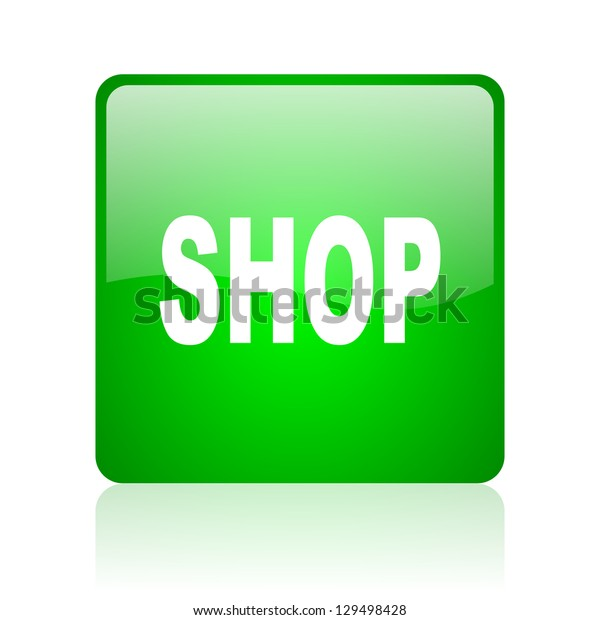 shop green square web icon on white background