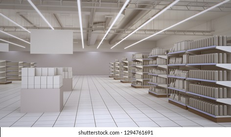 Shop Interior With Cans on Shelves and Banner. 3D render
