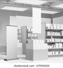 Shop interior with lots of blank products. 3D rendering