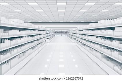 Shop interior with shelves for goods. 3d illustration