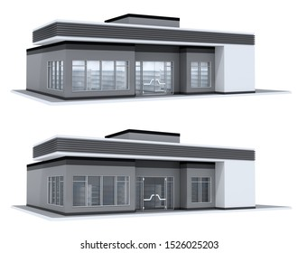 Shop, one-story building, a set of 3D illustrations with different lighting