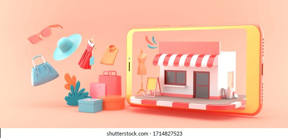 The shop online is surrounded by shopping bags and clothes on a pink background.-3d rendering.