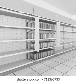 Shop shelf with products with flags and banner. 3D rendering