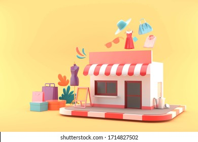 The shop is surrounded by shopping bags and clothes on a yellow background.-3d rendering.