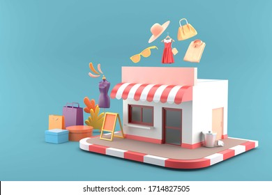 The shop is surrounded by shopping bags and clothes on a blue background.-3d rendering.