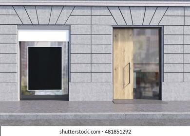 Shop window with black poster and glass and wooden door. Concept of advertisement, copyspace. 3d rendering. Mock up