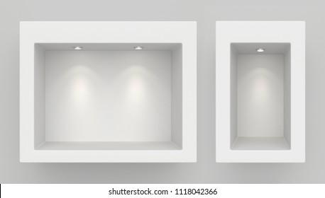 Schaufenster-Display, Leeres Schaufenster mit Licht, Schaufenster 3D-Rendering.
