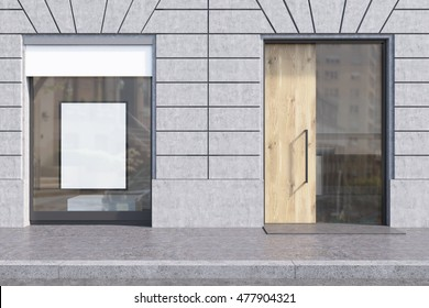 Shop window with white promotional poster and glass and wooden door. Concept of pr and marketing, copyshop. 3d rendering. Mockup