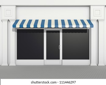 Shopfront - classic store front with blue awnings