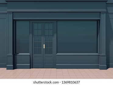 Shopfront with large windows. Small business dark store facade 3D render