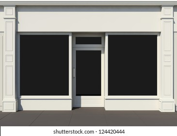 Shopfront with large windows. White store facade.