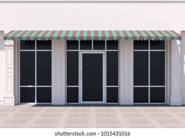 Shopfront in the sun - classic store front with awnings 3D render