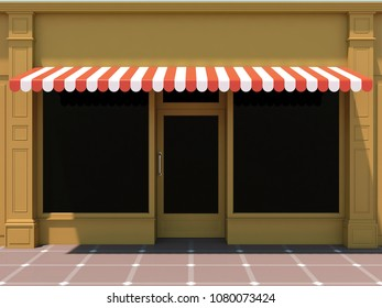 Shopfront in the sun - classic store front with orange awnings 3D render