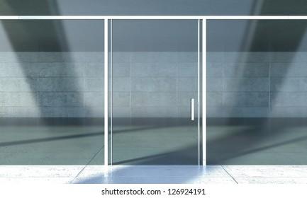 Shopfront windows in modern building