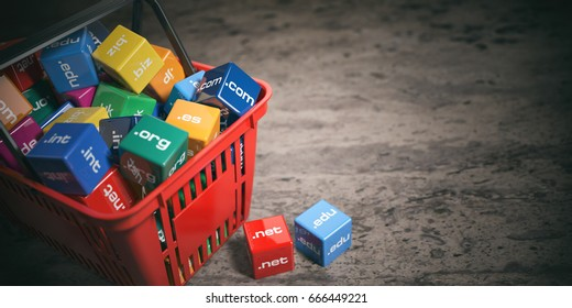 Shopping bag with domain names. Internet communication and e-business concept. 3d illustration
