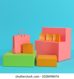 Shopping bags on colorfull boxes on bright blue background in pastel colors. Minimalism concept. 3d rendering