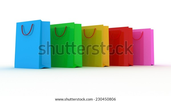 Shopping bags on the white background