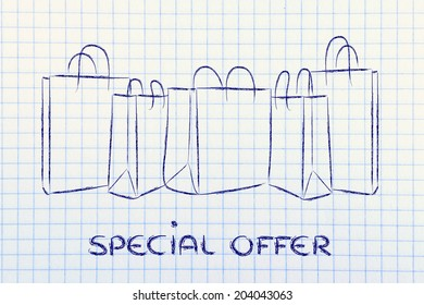shopping bags with special offer