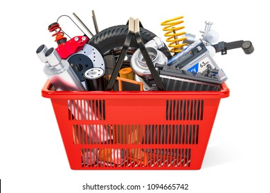 Shopping basket with car parts, 3D rendering isolated on white background