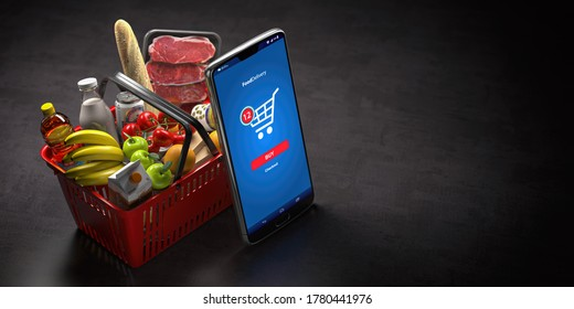 Shopping basket with fresh food and smartphone or mobile. Grocery supermarket, food and eats online buying and delivery concept. 3d illustration