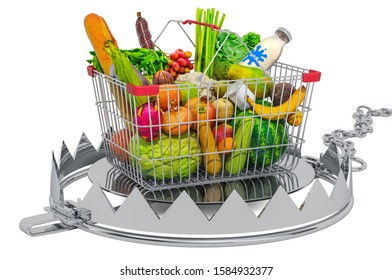 Shopping basket full of products inside bear trap. 3D rendering isolated on white background