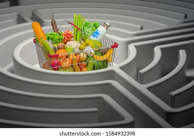 Shopping basket full of products inside maze, 3D rendering isolated on white background