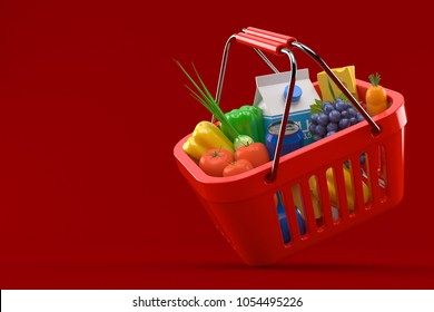 Shopping basket isolated on red background. 3d illustration